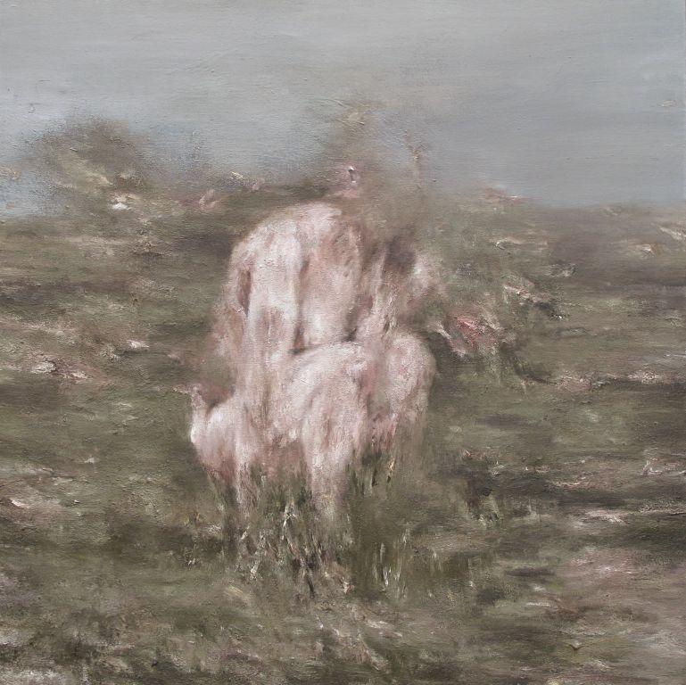 01 Figure dans un paysage 2013 huile surt toile 100x100 collection particulière