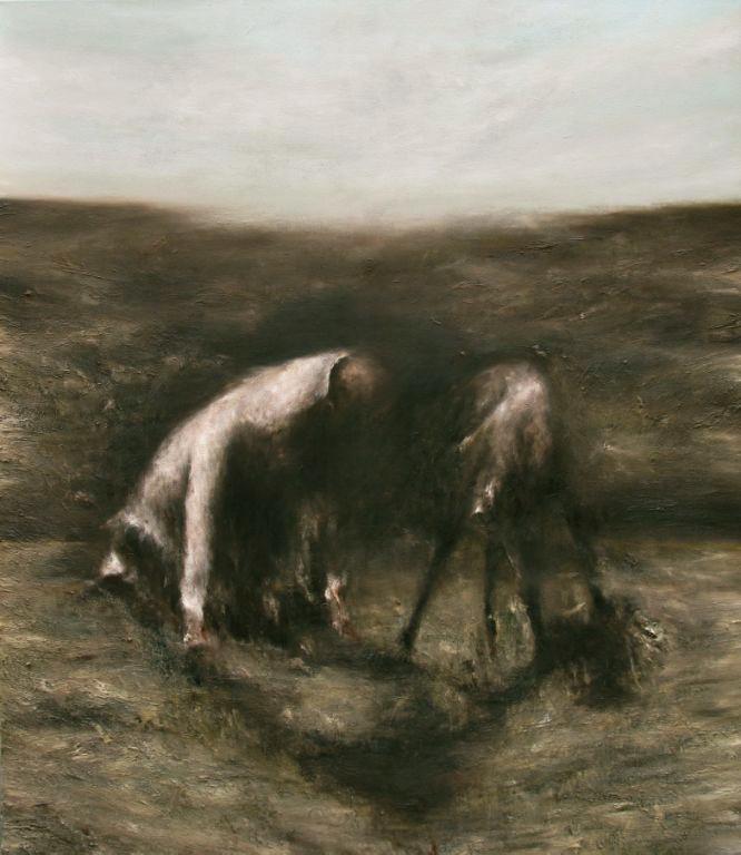03 Deux-figures-dans-un-paysage 2013 huile sur toile 140x120cm_Frantz_Metzger